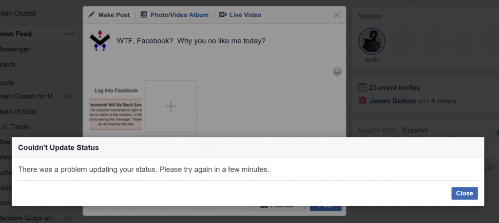 Good job Facebook.  Nothing works.