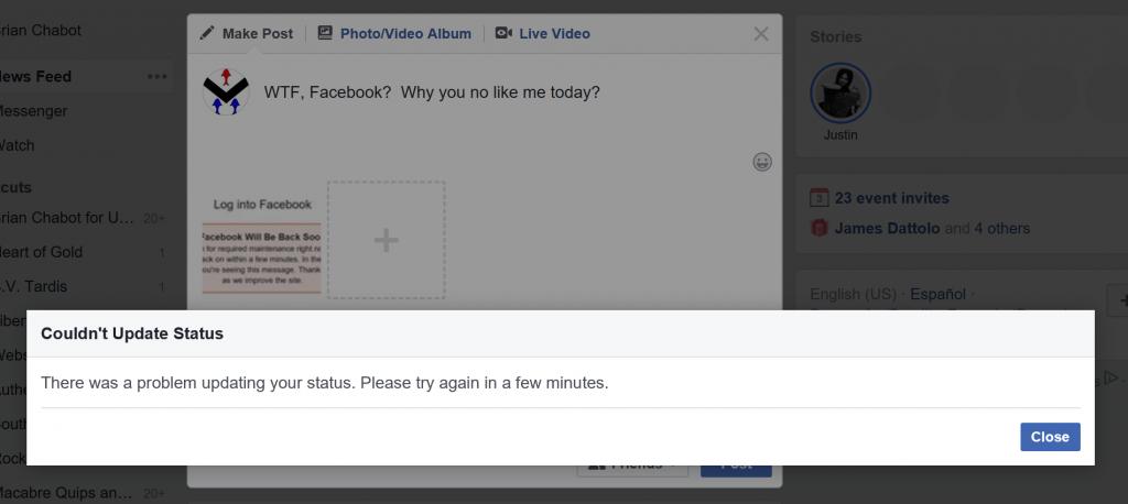 Good job Facebook.  Nothing works.